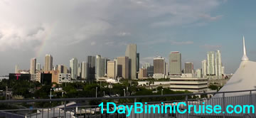 Miami Sky line as you leave on the 1 day Bimini cruise